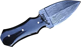 Damascus Steel Hunting Knife with Sheath Double Edge Blade Small Hunting Knife