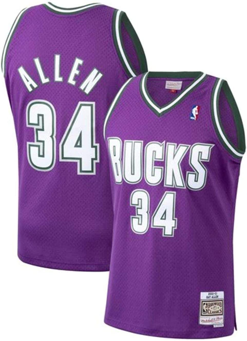 Amazon Com Ray Allen Milwaukee Bucks Men S Purple 2000 01 Road Hardwood Classics Swingman Jersey Medium Clothing