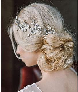 Catery Flower Bride Wedding Headband Silver Crystal Pearl Hair Vine Braid Headpiece Bridal Hair Accessories for Women (Silver)