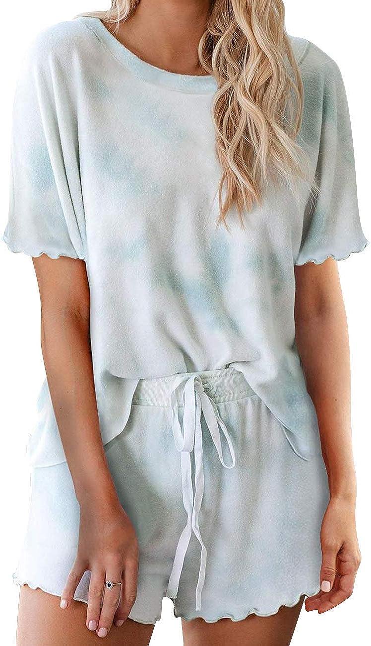 kayamiya Womens Pajamas Set Tie Dye Printed Long Sleeve Tops and