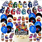 Among Us Party Supplies - Among Us Birthday Party Decorations Happy Birthday Banner,Balloon,Cake Topper for Among Us Theme Party Favor Supplies Set