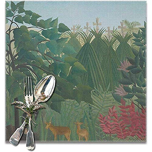 La cascade par Henri Rousseau Set de table Ensemble de 6 pour table à manger lavable tapis de table de cuisine facile à nettoyer
