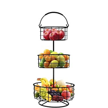 Sorbus 3-Tier Countertop Fruit Basket Holder & Decorative Bowl Stand — Perfect for Fruit, Vegetables, Snacks, Household Items, and Much More (Black)