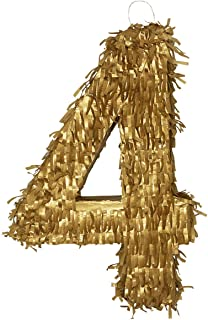 Lytio Golden Number 4 Small Pinata Limited Edition Perfect for a 4th Birthday, Anniversary, Classy Celebration, Centerpiece, Decor (Four)