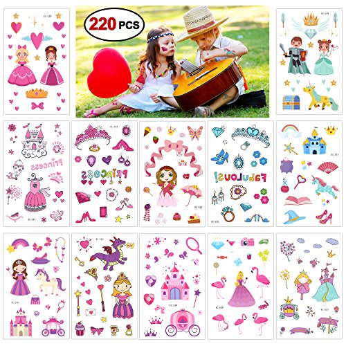 Konsait Princesa niña Tatuajes Temporales niños, 220 Surtidos Castillo Unicornio Tatuajes temporales Pegatinas para Niñas Infantiles Fiesta de cumpleaños Regalo piñata