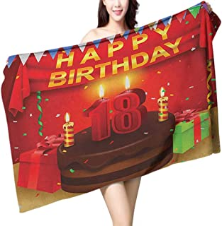 homecoco Soft Bath Towel 18th Birthday 18 Happy Birthday Party with Curtains Cakes Baloons Adulthood Image W10 xL39 Suitable for bathrooms, Beaches, Parties