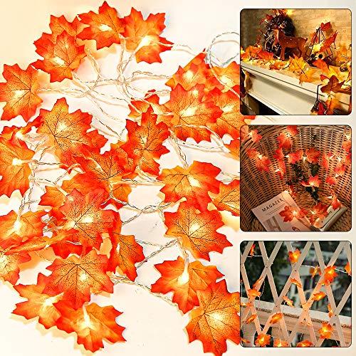 Molbory Ahornblatt Lichterketten, 2 M 20 Leds Girlande Lichterkette, Lichterketten für Innen und Außen