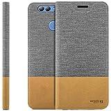 zanasta Tasche kompatibel mit Huawei Nova 2 Plus mit Kartenfach Hülle Flip Hülle Slim Schutzhülle Handytasche, Standfunktion | Grau