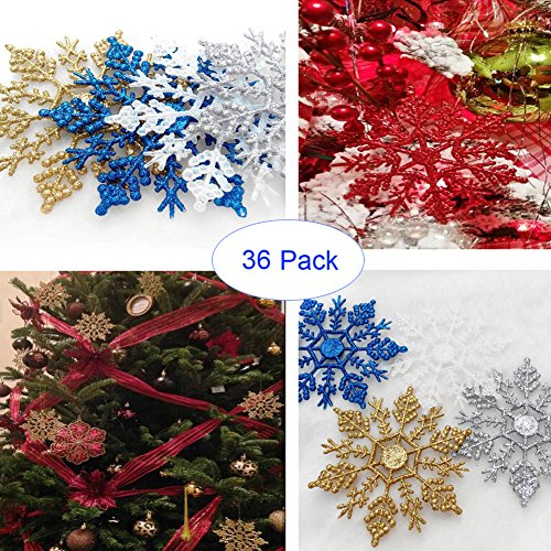 """Xueliee Plastic Snowflake Ornaments, 36 pcs Plastic Glitter Snowflake 4"""" Glitter Snowflake Christmas Ornaments for Christmas Decorations(Gold)"""