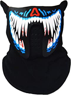 Halloween Mask Music LED Light Up Rave Mask Sound Actived Flashing Luminous Cool Party Mask, Blue and White, One Size