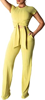 Womens Short Sleeve Ribbed Tie Up Crop Top Pockets Loose Long Pants Set 2 Piece Outfits Jumpsuits
