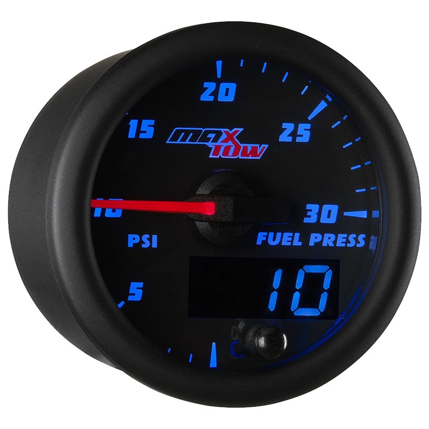 MaxTow Double Vision 30 PSI Fuel Pressure Gauge Kit - Includes Electronic Sensor - Black Gauge Face - Blue LED Illuminated Dial - Analog & Digital Readouts - for Diesel Trucks - 2-1/16