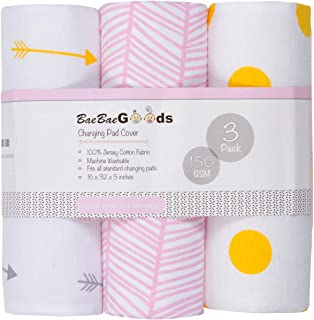 BaeBae Goods Changing Pad Cover Set   Cradle Bassinet Sheets/Change Table Covers for Boys & Girls   Super Soft 100% Jersey Knit Cotton   Grey and White   150 GSM   3 Pack