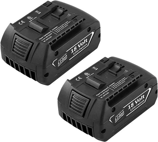 Forrat Replacement For Bosch 18V Battery 5 0Ah Lithium Ion Compatible For Bosch BAT609 BAT612 BAT619G BAT620 SKC181 02 For Bosch 18 Volt Batteries 2Packs