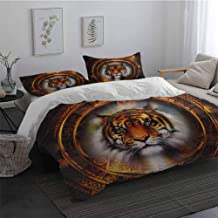 Microfiber Duvet Cover Tiger Ancient Mayan Calender Design with Big Hunter Cat Head Wise Feline Old Cultures 100% Washed Microfiber Pale Brown Gold Full