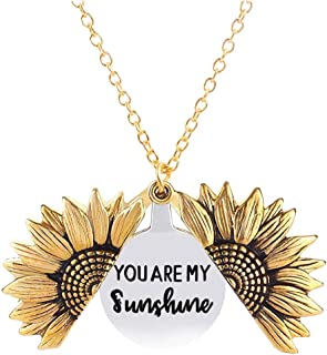 You are My Sunshine Necklace Sunflower Open Locket 14K...