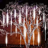 Number-one Meteor Shower Lights, LED Falling Rain Lights 30cm 8 Tube 144 LEDs Falling Raindrop Light, Waterproof Icicle Snow Fall String Lights for Xmas Tree Parties Wedding Garden (White, Hollow-out)