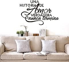 Zjxxm Spanish Bedroom Wall Stickers, UNA Historia De Amor Verdadera Nunca Termina - Espanol Quote Vinyl Wall Decals 90x58cm