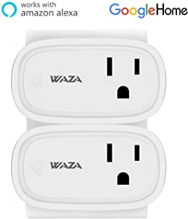 WAZA Smart Plug US Wifi Enabled Remote Control Smart Socket with Timer Function, No Hub Required Mini Smart Plug Switch, Pack of 2 (Oval)