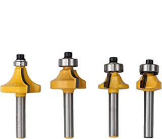 """4Pcs Round Over Router Bit 1/4"""" Shank Round over Edging Router Bit Set Corner Rounding Edge-Forming Roundover Beading Router Bit Set - 1/2'' 3/8'' 1/4'' 1/8'' Radius"""