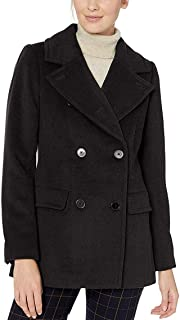 Lark & Ro Women's Peacoat Deep Solid Black US Size 4 Double Breasted