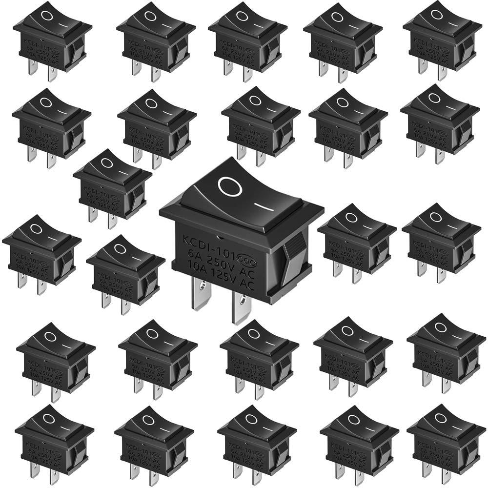 YUEQIN 25 pcs Interruptores Para Coche Boton Interruptor Rocker Interruptor 6A/250V,10A/125V SPST ON/OFF Auto Boton Interruptor Rocker Switch