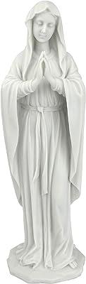 Design Toscano La Sainte Vierge Marie Statue, Petit 30.5 cm Figurine, résine de marbre, blanc