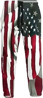 Cyloten Sweatpants American Flag Rose Men's Trousers Durable Hip Hop Pants Sportswear with Pockets