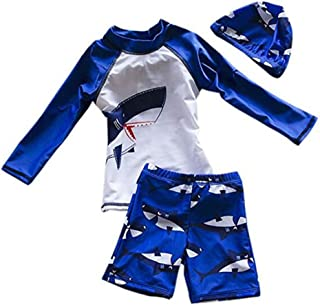 Digirlsor Toddler Boys Two Piece Rash Guard Swimsuits Kids Long Sleeve Sunsuit UV Protection Swimwear Bathing Suit,2-8Y