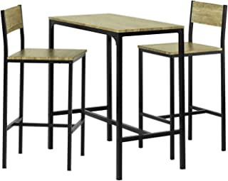 SoBuy Bar Table and Stools with Backrest, Dining Table with Chairs, Dining Set OGT03-N