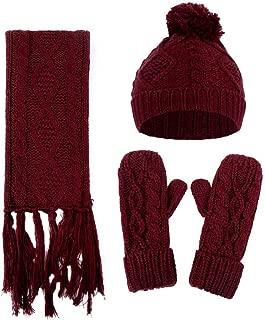 Veepola Women Crochet Hat Woolen Thick Warm Knitted Caps+Scarf+Gloves Suit (Wine Red)