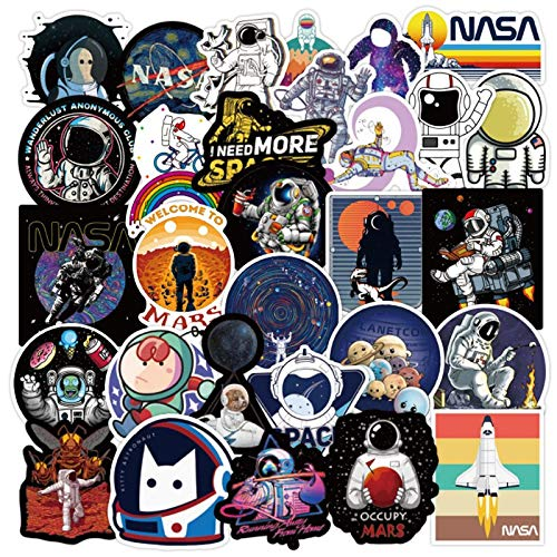 Conjunto Fantasía Espacio Astronauta Graffiti Impermeable Monopatín Viaje Maleta Teléfono Móvil Portátil Equipaje Pegatinas Lindo Niños Niña 50pcs