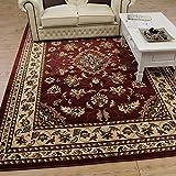 Tapis oriental et classique de style persan traditionnel, avec motif floral, rouge,...