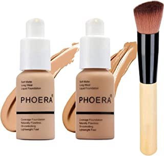 2 Colors PHOERA Liquid Foundation, Cover Facial Blemish Foundation Makeup, Naturally Liquid Foundation Full Coverage Matte Oil Control Concealer with Foundation Brush (104# Buff Beige & 105# Sand)