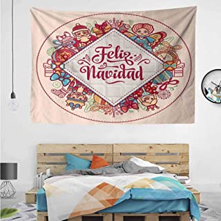 HuaWuChou Feliz Navidad Christmas Colorful Tapestry, Wall Decor Tapestries for Bedroom, Living Room, 59W x 39.3L Inches