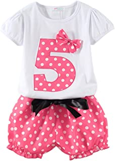 LittleSpring Little Girls Birthday Outfit Dot Summer Clothing Set for 1-6 Years
