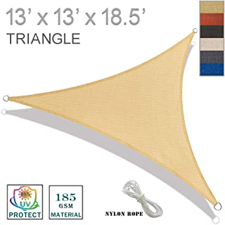 SUNNY GUARD 13' x 13' x 18.5' Sand Triangle Sun Shade Sail UV Block for Outdoor Patio Garden