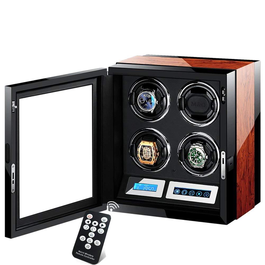 L.HPT Caja Giratoria Reloj Automatico Bateria,Caja Giratoria para Relojes Automatico Bateria,Watch Winder 4 Relojes Pilas,Caja para Relojes Automaticos,Negro Y Marron: Amazon.es: Deportes y aire libre