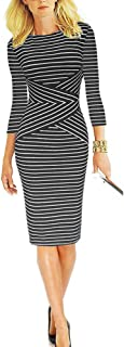 Women 3/4 Sleeve Striped Wear to Work Business Cocktail...