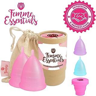 comprar comparacion 2x Femme Essentials Copa Menstrual + Bolsa de Algodón | 100% de Silicona Hipoalergénica para Uso Médico | Ecológica, Segur...