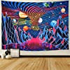 Amhokhui Trippy Mountain and Planet Tapestry Hippie Tornado Waves Tapestry Retro Abstract Space Landscape Tapestry Psychedelic Galaxy Stars Tapestry Wall Hanging for Room #1