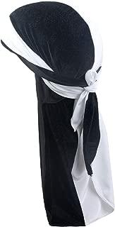 PLOVZ Men's Women's Two-Tone Velvet Durag Cap Headwrap with Long and Wide Strap