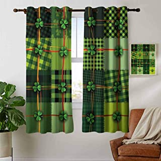 Jinguizi grommetIrish Curtain Panels Patchwork Style St. Patricks Day Themed Celtic Quilt Cultural Checkered with Clovers Curtains for Bedroom Multicolor 108 x 72 inch