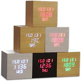 Xyfgz LED Alarm Clock Household Gifts Electronic Products Wood,Shiraki Green Word