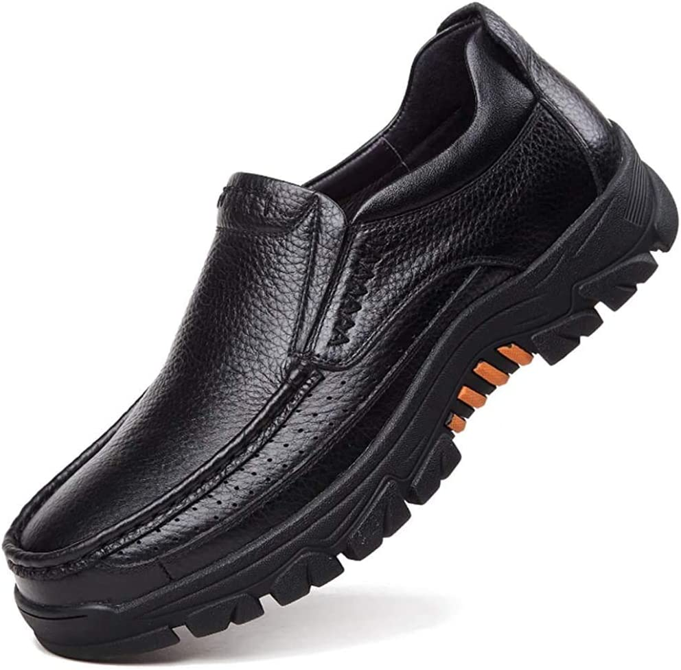 Mens Casual Genuine Cow Leather Waterproof Comfy Non Slip Soft Slip On Oxfords Sneakers