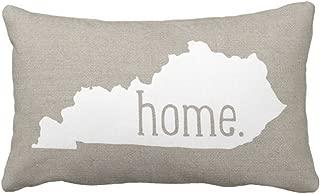 Emvency Throw Pillow Cover Kentucky Home State Decorative Pillow Case Love Home Decor Rectangle Queen Size 20x30 Inch Cushion Pillowcase