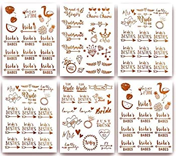 Bachelorettesy Bride to be Temporary Tattoos 100+ Designs Diamond Rings Future Mrs Cheers for Engagement & Bachelorette Party - Waterproof Nontoxic Lasting - Rose Gold