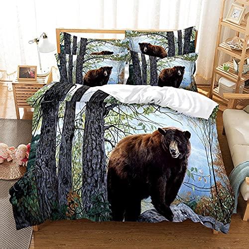 Bettwäsche 200 X 200 cm Schwarzbär Bettbezug Set 3D,Bettbezüge Mikrofaser Bettbezug mit Reißverschluss und 2 Kissenbezug 80X80cm ,Bettbezug Jugendliche ,Bettwäsche-Sets Modern
