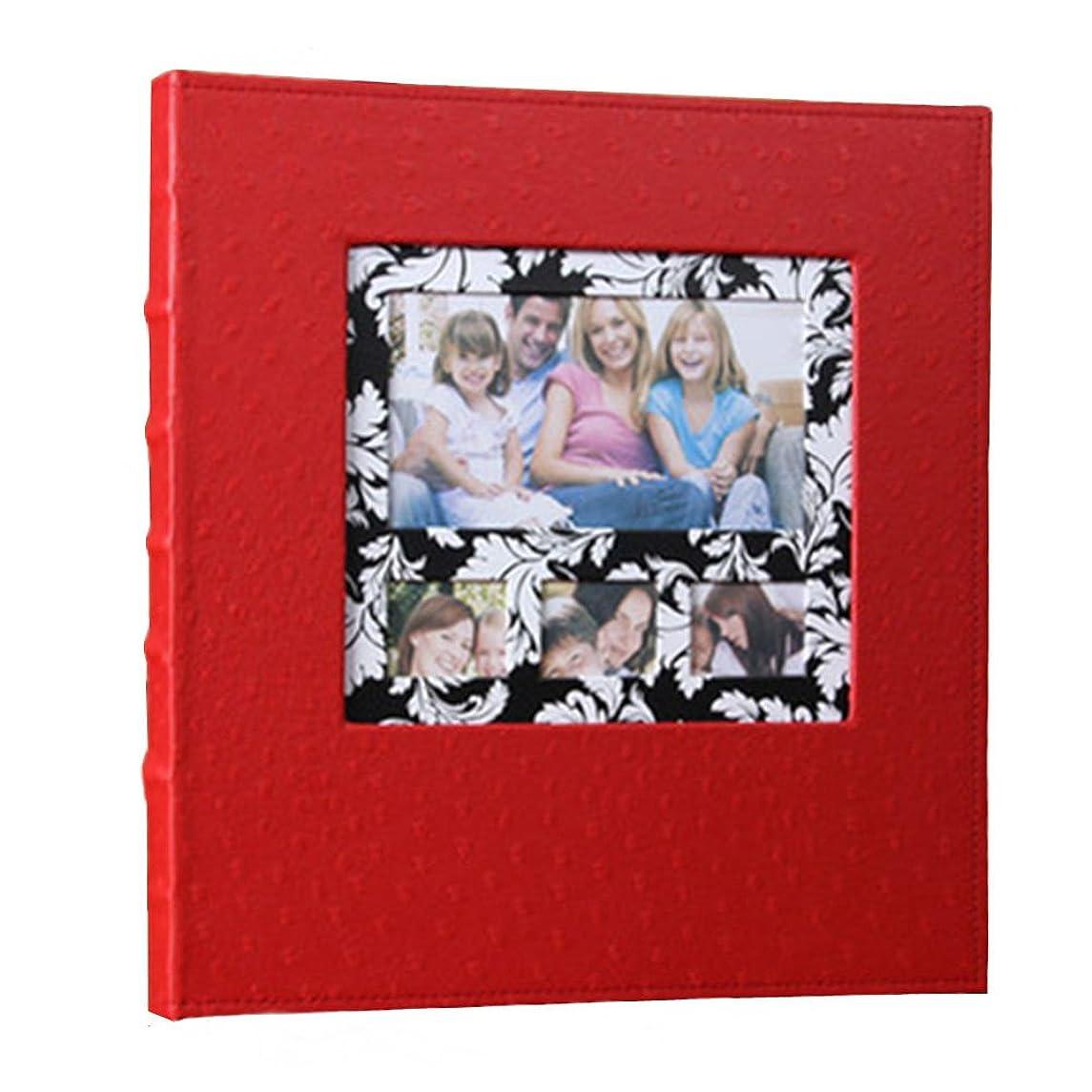 Xerhnan Leather Frame Cover Photo Album 600 Pockets Hold 4x6 Photos.Color: Red.