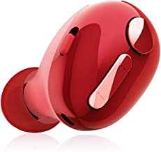 Elecom LBT-HSC30MPRD Ultra-Small Bluetooth Hands-free Headset for Call and Music, Multi-functional 3 Button + 1 Switch Design, Red